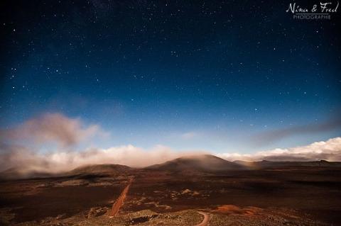 paysage nocturne plaine des sables Réunion 974