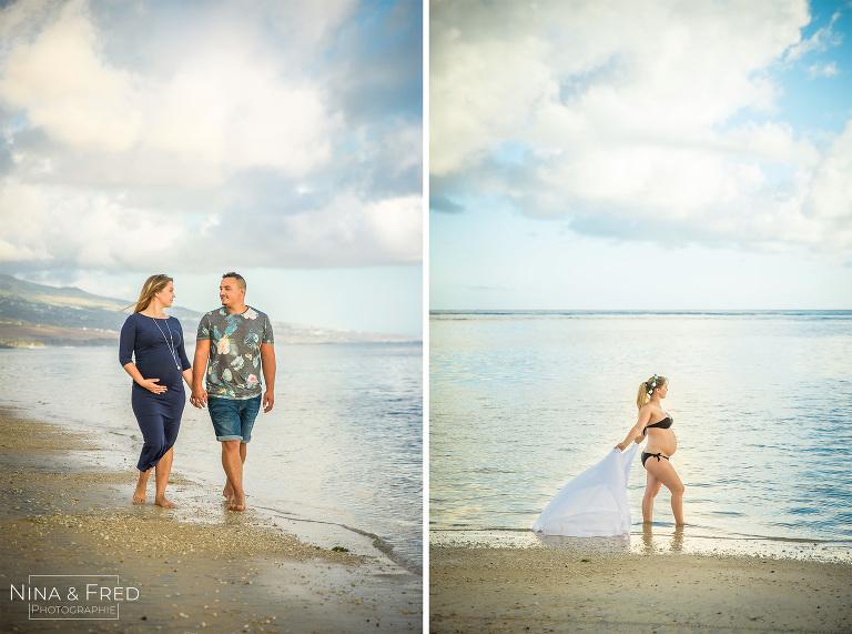 photos de grossesse plage Réunion A&R