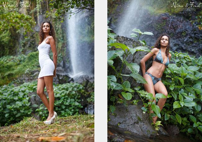photos de mannequinat devant une cascade