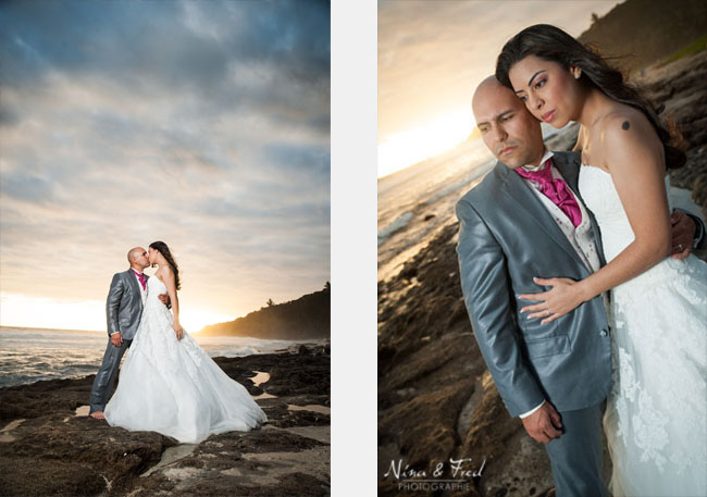 deux photos de Cyrielle et son  mari séance trash the dress grande anse