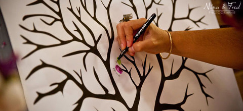réception de mariage arbre à empreintes