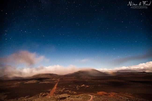 photo paysage nocturne plaine des sables réunion