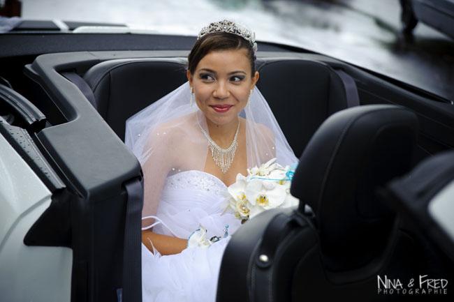 photo de la mariée Gaëlle en voiture