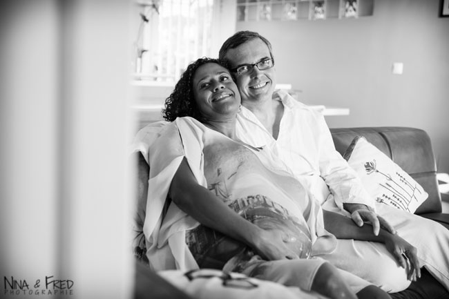 photo de grossesse noir et blanc Marcia