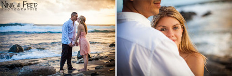 Gaelle et Miguel photographiés sur la plage