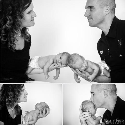 séance photo des jumeaux E&V à la naissance