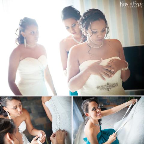 habillage de la mariée Delphine