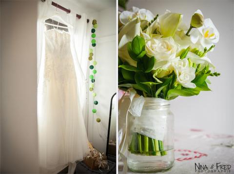 robe de mariée et ouquet Sandrine