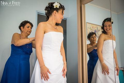 préparation de la mariée Coralie