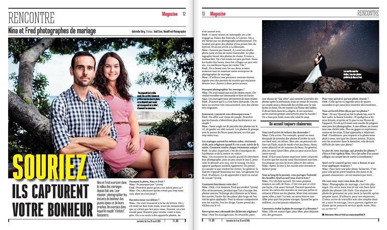 article sur Nina et Fred Photographes à la Réunion