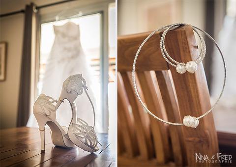 accessoires et robe de la mariée M