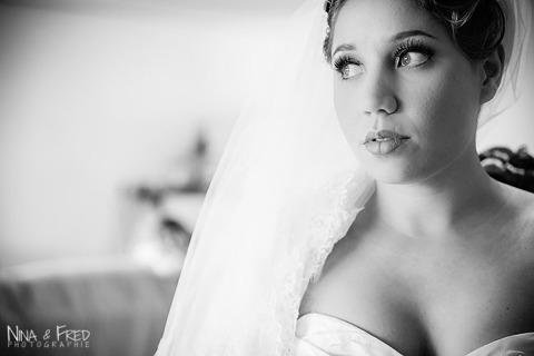 mariée Emilie en noir et blanc