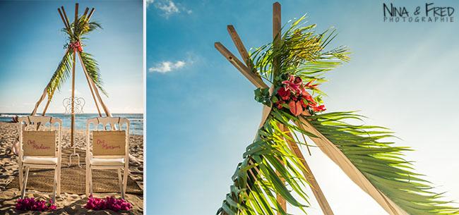 arche sur la plage mariage L&C