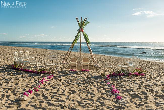 cérémonie sur la plage Réunion L&C