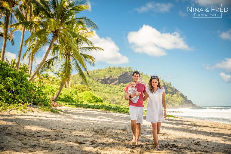 photo de famille sur la plage de Grande Anse F&L