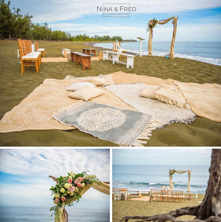 photos arche cérémonie sur la plage Réunion C&N