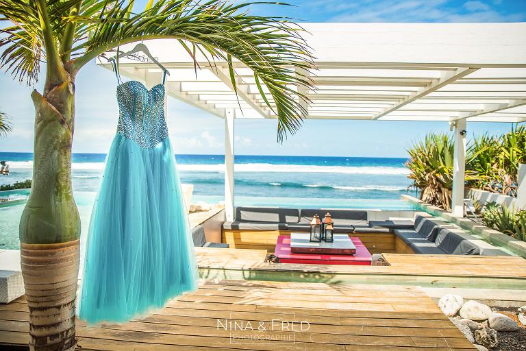 robe de mariée bleue V&D Réunion