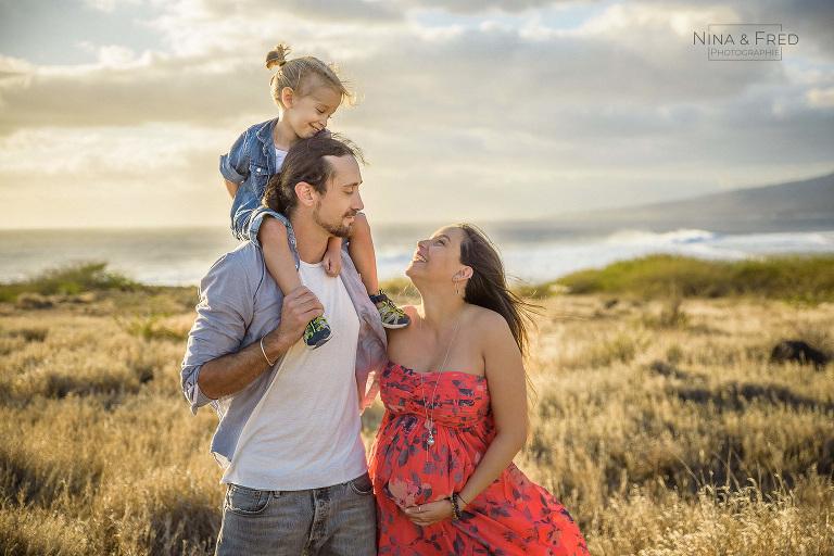 photo en famille à la Réunion L&J&C